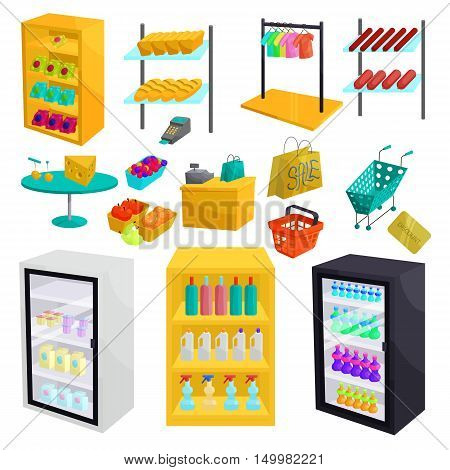 Supermarket icons set in cartoon style. Shopping elements set collection vector illustration