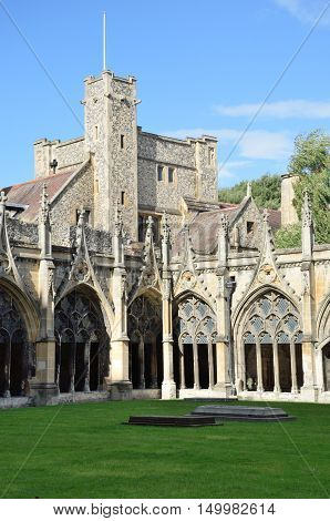 Cloisters of Canterbury Cathedral with Tower in background