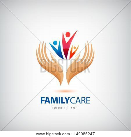 Vector Family life insurance sign icon. Hands protect, hold human group symbol. Health insurance. Family support