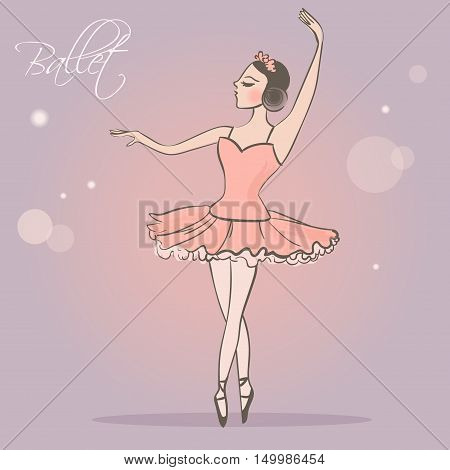 Ballerina. Dancing girl in lush skirt. Vector illustration. Cartoon character. Isolated. Hand drawn