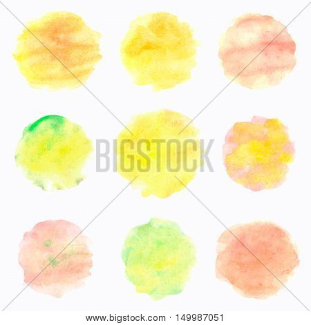 Watercolor circles isolated on white background. Colorful hand painted banners set. Autumn tints. Vector illustration