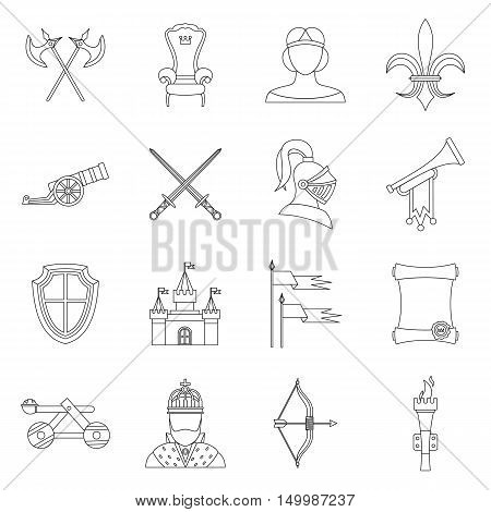Knight medieval icons set in outline style. Middle ages warrior weapons set collection vector illustration