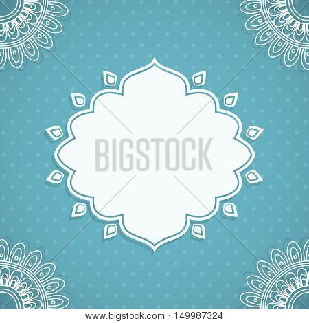 Frame in Indian style on a background with paisley pattern. Vector illustration.