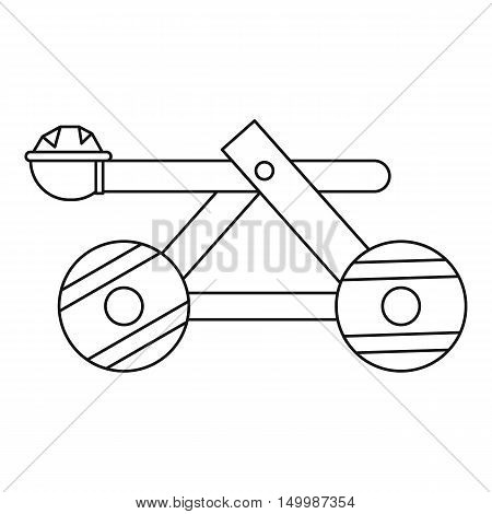 Wooden catapult icon in outline style on a white background vector illustration