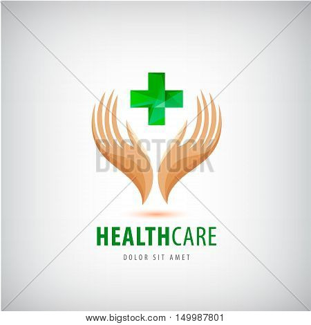 Medical pharmacy cross logo design template. 2 hands holding green cross, health protection, human support