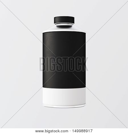 Closeup One Blank Black White Matte Color Metal Jar Isolated Empty Background.Clean Cup Container Mockup Ready Use Corporate Design Message.Modern Style Drinks Food Storage.Square. 3d rendering