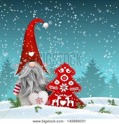 Nisser in Norway and Denmark, Tomtar in Sweden or Tonttu in Finnish, Scandinavian folklore elves, nordic christmas motive, Tomte standing in front of winter forrest in snowy landscape, with decorated heart and tree, vector illustration, eps 10 with transp