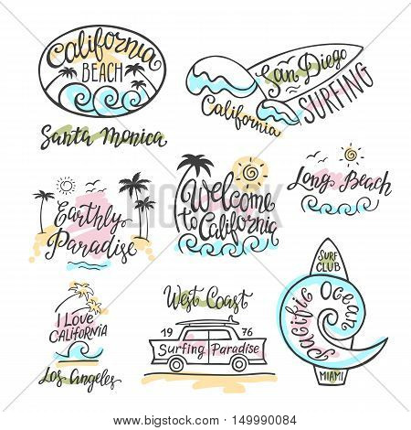 Vector set of logos, badges and emblems with hand inscription California beach. Illustration for posters, t-shirts, bags and other.