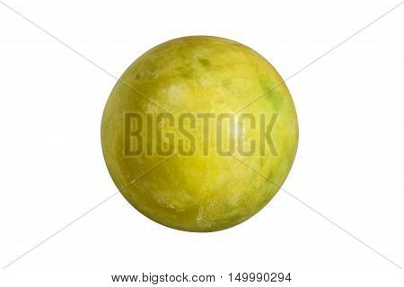 Ball of green jade stone isolated on white