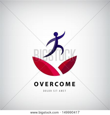 Vector illustration on overcoming challenging problems and adversity in business concept. Overcome logo, jumping man from one side to other, success, winner