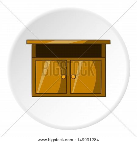 Bedside table icon in cartoon style isolated on white circle background. Furniture symbol vector illustration