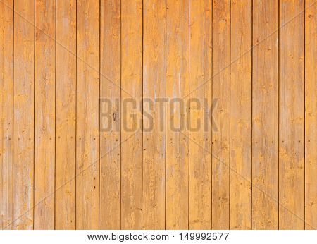 Wooden Wall With Yellow Paint Layer