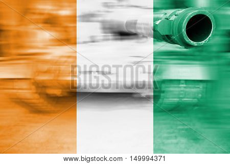 Military Strength Theme, Motion Blur Tank With Cote D'ivoire Flag