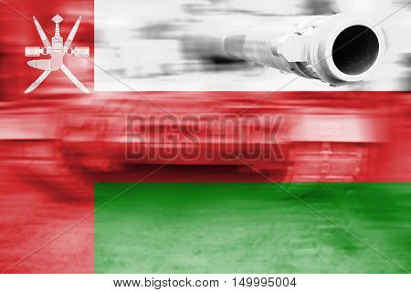 Military Strength Theme, Motion Blur Tank With Oman Flag