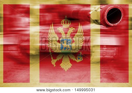 Military Strength Theme, Motion Blur Tank With Montenegro Flag