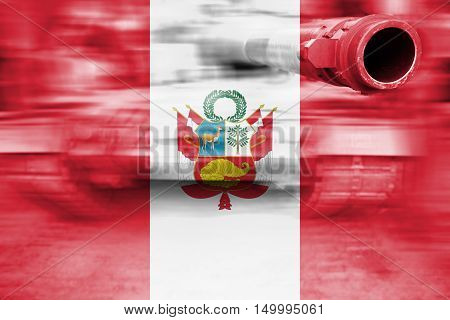 Military Strength Theme, Motion Blur Tank With Peru Flag