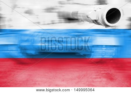 Military Strength Theme, Motion Blur Tank With Russian Flag
