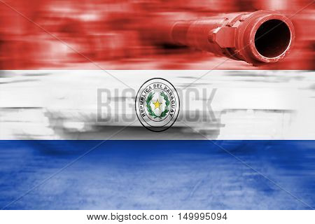 Military Strength Theme, Motion Blur Tank With Paraguay Flag
