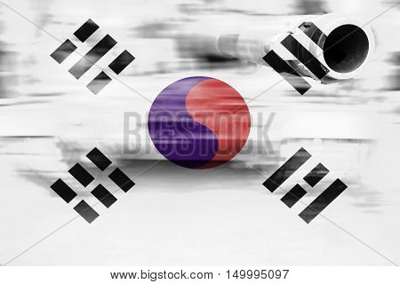 Military Strength Theme, Motion Blur Tank With Republic Of Korea Flag