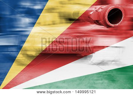 Military Strength Theme, Motion Blur Tank With Seychelles Flag