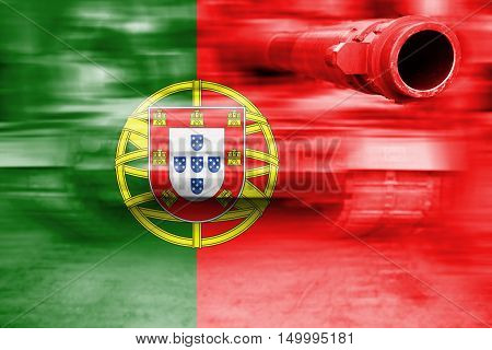 Military Strength Theme, Motion Blur Tank With Portugal Flag
