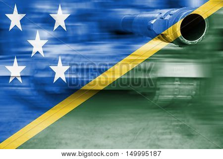Military Strength Theme, Motion Blur Tank With Solomon Islands Flag