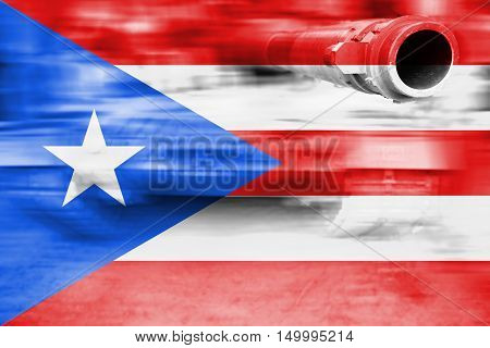 Military Strength Theme, Motion Blur Tank With Puerto Rico Flag