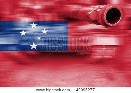Military Strength Theme, Motion Blur Tank With Samoa Flag