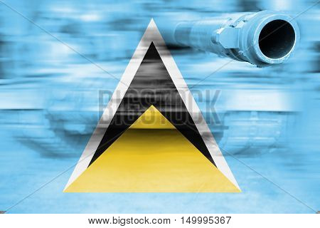 Military Strength Theme, Motion Blur Tank With Saint Lucia Flag