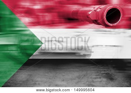 Military Strength Theme, Motion Blur Tank With Sudan Flag