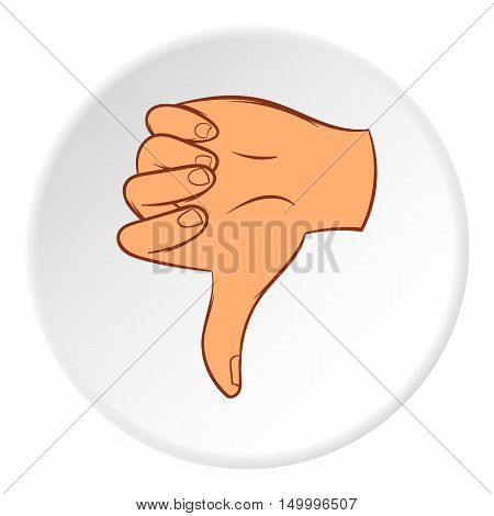 Gesture thumbs down icon in cartoon style on white circle background. Gestural symbol vector illustration