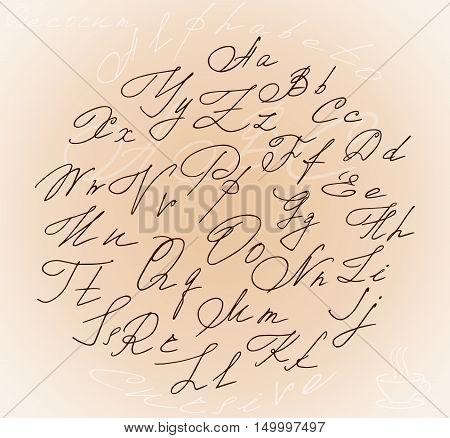 Graceful stylized letters cursive alphabet inside the circle and the bonus of a steaming Cup of coffee
