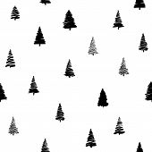 Vector illustration of doodle fir-tree seamless background in modern style. Sketch xmas tree and round sphere for new year, christmas design. Hand drawn spruce tree seamless pattern poster