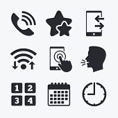 Phone icons. Touch screen smartphone sign. Call center support symbol. Cellphone keyboard symbol. Incoming and outcoming calls. Wifi internet, favorite stars, calendar and clock. Talking head. Vector poster