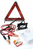 Emergency kit for car - first aid kit car jack jumper cables warning triangle light bulb kit poster