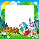 Easter frame with bunny artist - vector illustration. poster