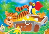 "illustration for children. a series ""cheerful animals"". parrot and tiger at a chest with treasures. poster"