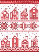 Seamless Scandinavian style and Nordic culture inspired Christmas and festive winter pattern in cross stitch style with gingerbread house village including decorative elements in red and white poster