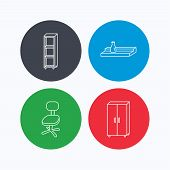 Office chair, cupboard and shelving icons. Wall shelf linear sign. Linear icons on colored buttons. Flat web symbols. Vector poster