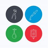 Blood donation, pipette and dental pliers icons. Clyster linear sign. Linear icons on colored buttons. Flat web symbols. Vector poster