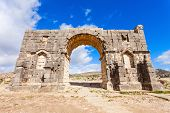 Volubilis near Meknes in Morocco. Volubilis is a partly excavated Amazigh then Roman city in Morocco situated near Meknes the ancient capital of the kingdom of Mauritania. poster