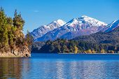 Tronador Mountain and Nahuel Huapi Lake Bariloche. Tronador is an extinct stratovolcano in the southern Andes located near the Argentine city of Bariloche. poster