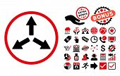 Expand Arrows pictograph with bonus pictograph collection. Glyph illustration style is flat iconic bicolor symbols, intensive red and black colors, white background. poster