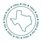 Texas vector map. Retro vintage insignia with US state map. Distressed visa stamp with Texas text wrapped around a circle and stars. USA state map vector illustration. poster