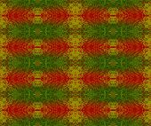 Abstract geometric seamless background. Regular scrolled ornaments red, green and gold, traditional Christmassy wrapping paper. poster