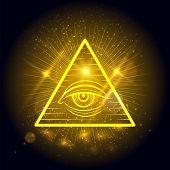 Masonic eye of Omniscience on golden shining background. Mystical symbol vector illustration poster
