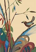 Bamboo, bird and other plants. vector illustration poster
