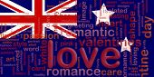 Flag of Australia, national country symbol illustration love romance poster