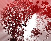 Abstract background illustration of shattered exploding geometric shapes poster