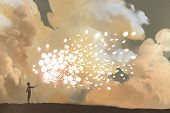 man releasing glowing balloons and butterflies flock in the sky, illustration painting poster